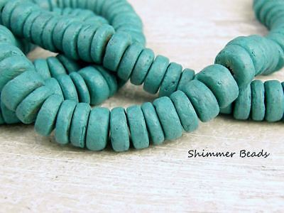Coconut Beads  Heishi-Rondelle Turquoise- 10/5mm