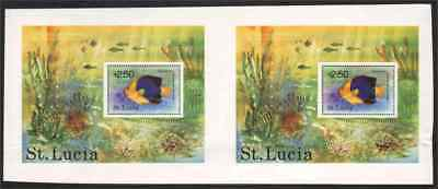 St. Lucia 1978 Tropical Fish SS uncut proof PAIR
