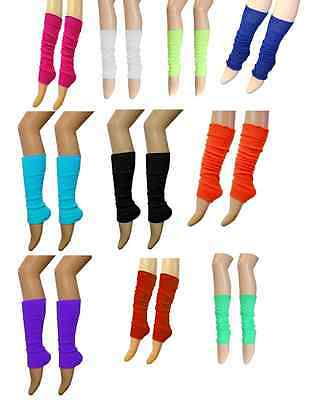Ladies Girls Teen 80's Dance Plain Ribbed Leg Warmers Legwarmer Tutu Fancy Dress