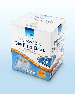 14 X Travel/Portable Baby Bottle Sterilising / Steriliser Bags Inc. Tablets