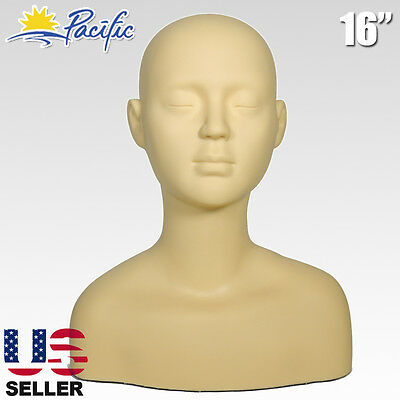 Soft Rubber Massage Make Up Practice Training Mannequin Head Shoulder Bone