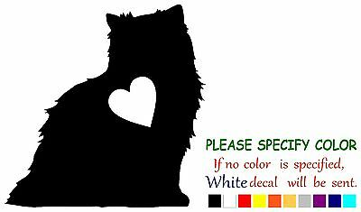 """Persian Cat with Heart Funny Vinyl Decal Sticker Car Window laptop tablet 9"""""""