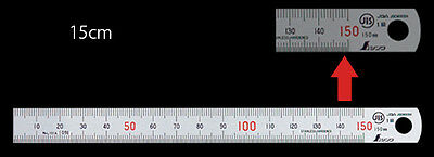 SHINWA 15cm 150mm Stainless Steel Ruler Scale with Conversion Table for Work