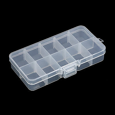 10 Cell Empty Storage Case Box for Nail Art Stones Gems Translucent