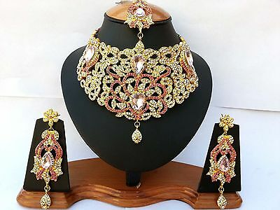 Indian Jewellery Set Delicate Style Gold Plated Pink Clear New Aq/25