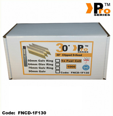 Framing Nails, D-Head 30°, 1k nails & 1Fuel Cell,  For Paslode & Hitachi Nailers