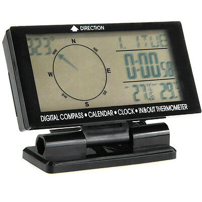 Auto Digital Electronic Compass With Clock In/Out Thermometer Calendar New