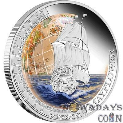 Tuvalu 2012 $1 Ships that Changed the World - Mayflower 1 Oz Silver Proof Coin