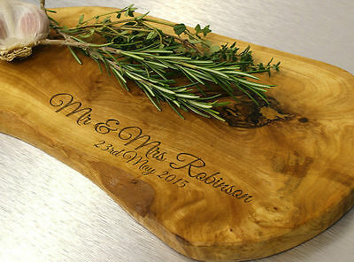 Personalised Olive Wood Chopping Boards Engraved Gift ,House warming 5 sizes