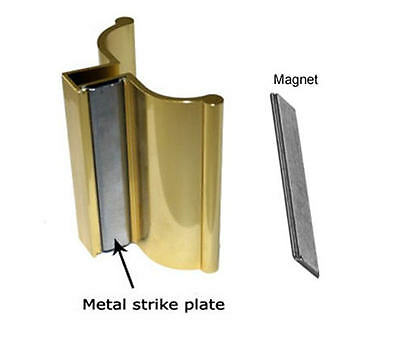 Bright Gold Frameless Shower Door Handle with Metal Strike and Magnet - Set