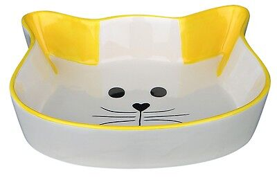 Trixie Cat Face Ceramic Cat Bowl with Yellow Ears Cat Kitten Feeding Dish 24494Y