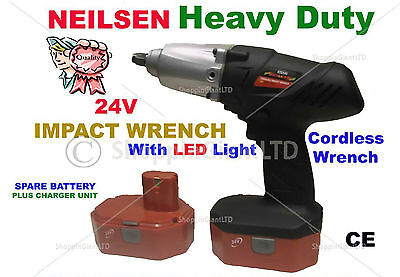 "24V 1/2"" Drive Cordless Impact Torque Wrench Ratchet & 2 Batteries In Case T3141"