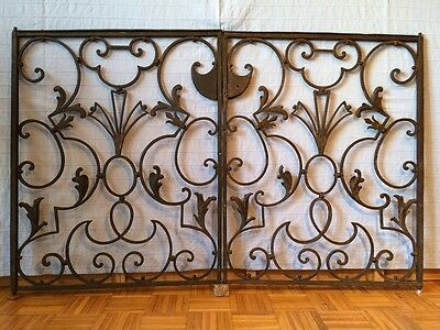 Pair Of Antique Hand Wrought Iron Chancel Gates From Italian Church