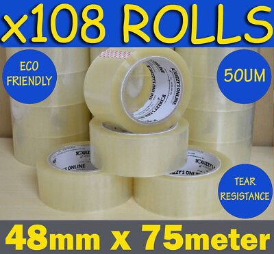 108 ROLLS HEAVY DUTY QUALITY CLEAR PACKAGING PACKING/SHIPPING TAPE 48mm x 75m