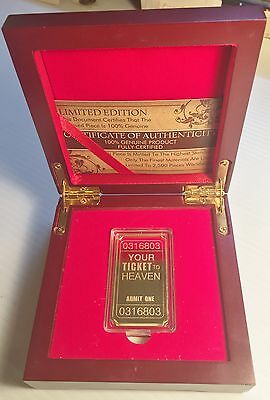"NEW 2015 ""YOUR TICKET TO HEAVEN"" Ingot, 999 24k Gold HGE, Display Box and C.O.A."