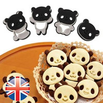 *UK Seller* Set of 4 Panda Cookie Cutter Mould Biscuits Cute Pastry Baking