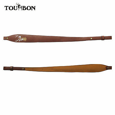 Tourbon Rifle Sling Hunting Gun Straps Anti-slip Deer Embroidery Genuine Leather