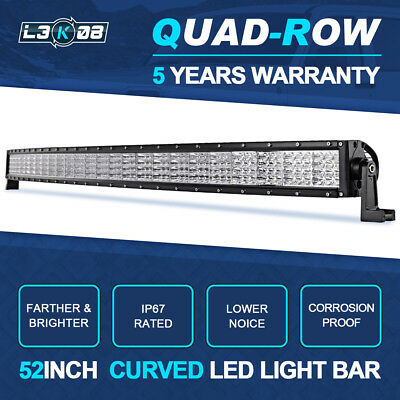 """50inch 672W PHILIPS Curved LED Light Bar Flood Spot Offroad 4x4WD Pickup 52/54"""""""