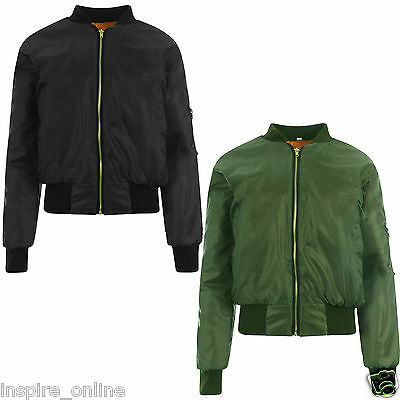 New Ladies Womens Girls Ma1 Vintage Stylish Zip Up Lined Classic Retro Jacket