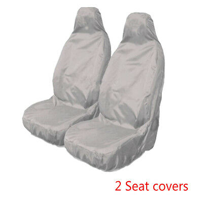 Universal Car Van Waterproof Nylon Grey Front Heavy Duty Seat Covers Protectors
