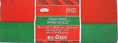 New Red and Green Tissue Paper 24 Ct. Pack Christmas Tissue 20 x 20 in. (Qty 1)