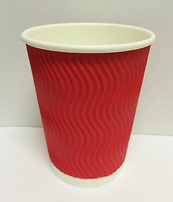 100set 12 oz RED Triple Ripple Wall Disposable Paper Coffee Cups and Lids