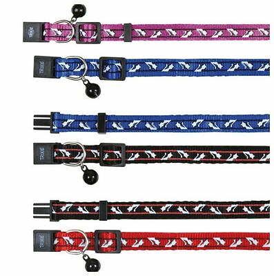 Cat Collar Sleak White Cat Motiff - Safety Cats Collar With 4 Colour Choices