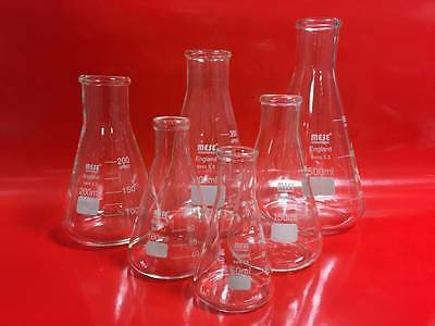 Conical Flask Erlenmeyer Borosilicate 50,100,150,200,250,300, &500ml, 1, 2, & 3L