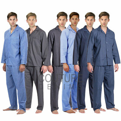 Mens PJ's Pyjama Set Flannel Pyjamas Lounge Trouser Wear Thermal Nightwear Shirt