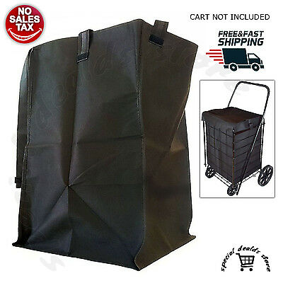 Folding Cart Bag Liner Shopping Basket For Swivel Wheel Trolley Rolling Utility