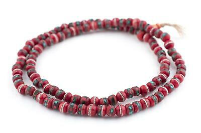 Red Vintage Inlaid Bone Prayer Beads