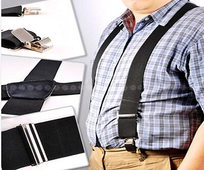 Heavy Duty Strong Men Braces Black Suspenders Elastic 50Mm Wide Durable