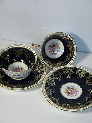 AYNSLEY Cobalt Blue Teacup & Saucer Floral Motif Gold Guilded Duet Lot 2 Pair