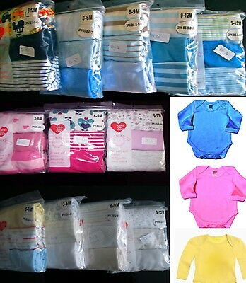 Baby Girls/Boys Bodyvest Sleepsuits 3 Pack 100% Cotton Playsuit Set,6,12,18,24m