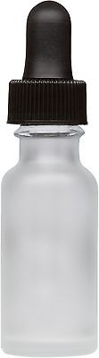 300 Pack Frosted Glass Boston Round Bottle w/ Black Glass Dropper 0.5 oz