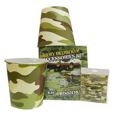 Army Bedroom 3pcs Accessories Kit - Kids Army Camouflage Bedroom Ideas