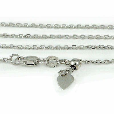 14k White Gold Cable style Adjustable Necklace, 24 inches (NEW chain, 3.6g)#2353