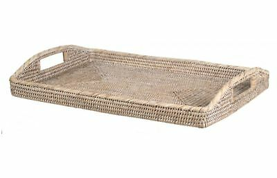 Large Rattan Tray Rectangle Serving Entertaining Woven - White Wash