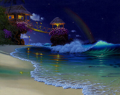 Canvas Print Oil painting Picture Fantasy Rainbow Beach scene on canvas L686