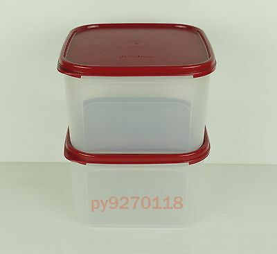 Tupperware Modular Mates Square II Cranberry Lids set of 2 + Free Shipping