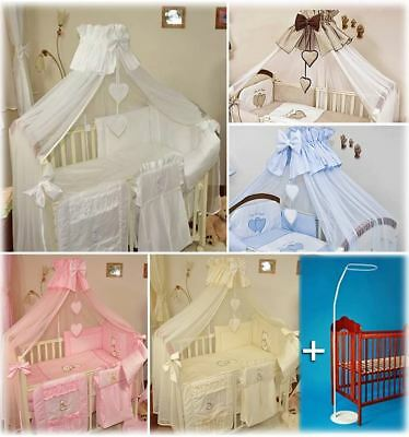 Stunning Baby Canopy Mosquito Net 480cm + Floor Stand Holder Fits Cot Bed Heart