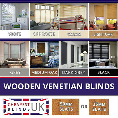 WOOD WOODEN VENETIAN BLINDS MADE TO MEASURE 35MM or 50MM SOLID WOOD & EASY FIT