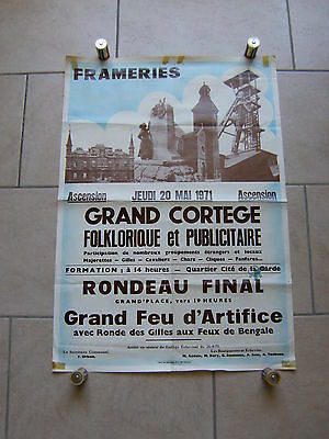 Ancienne affiche CORTEGE FOLKLORIQUE, fête ASCENSION - Ville de FRAMERIES - 1971