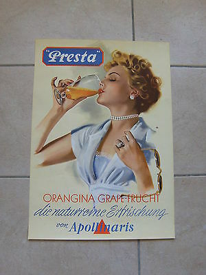 RARE et BELLE ancienne affiche publicitaire PRESTA APOLLINARIS - pin up - 50/60'
