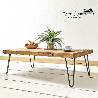 Rustic Chunky Coffee Table With Solid Wood Metal Hairpin Legs | 35cm Height