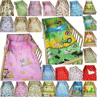 3 piece COT BEDDING SET boy girl nursery DUVET COVER PILLOW CASE BUMPER BABY