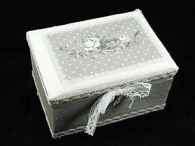 Wooden Jewellery Trinket Box Home Decoration Shabby Chic Grey color with Roses