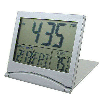 Silver Foldable Battery Desktop Calendar Temperature Digital Alarm Clock DI