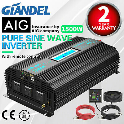 Pure Sine Wave Power Inverter 1000W/2000W12V-240VAC+Remote Controller 4.5M Cable