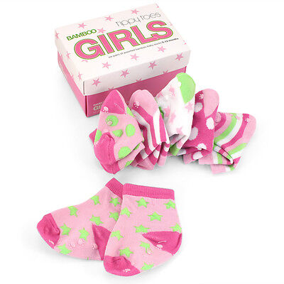 NEW Tippy Toes Bamboo Kickers Baby Sock Set Girls 6pce
